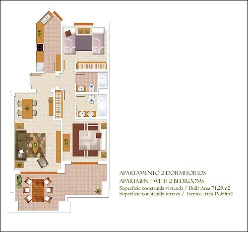 Calaceite fotos residencial torrox for Plano apartamento 3 habitaciones